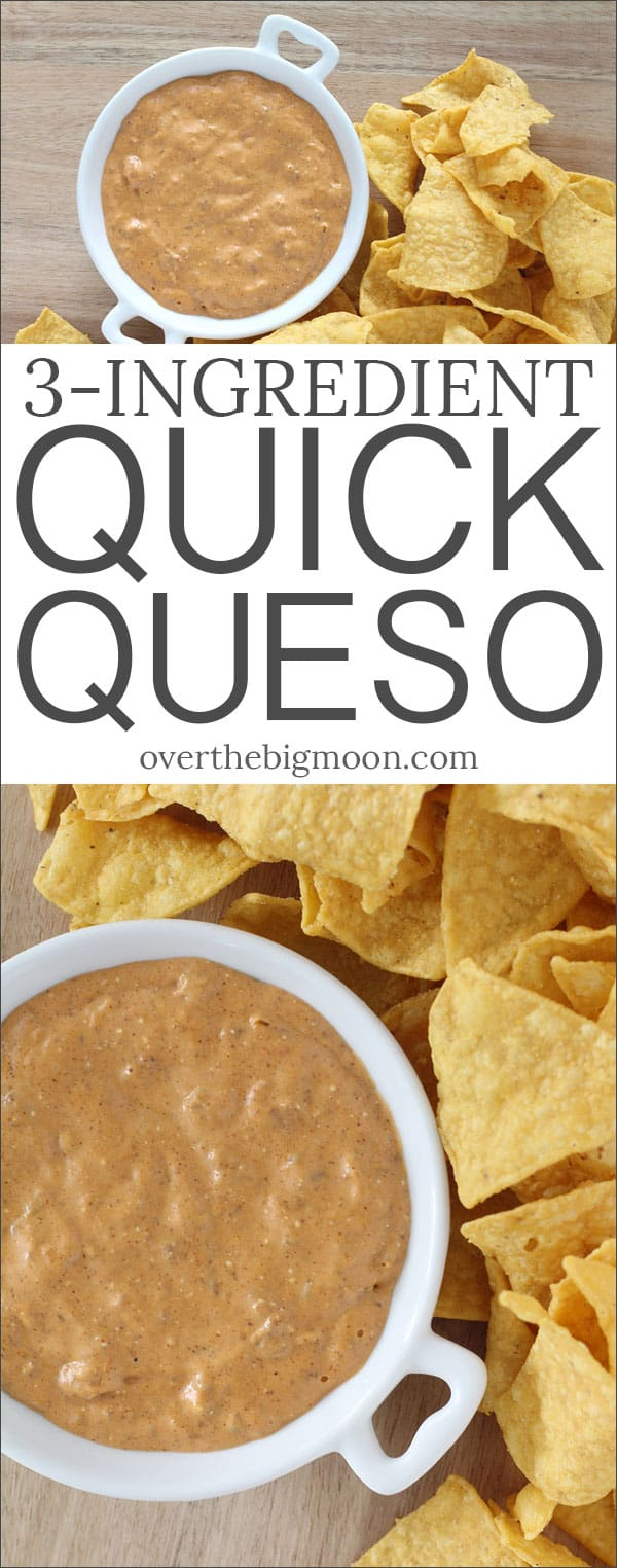 This perfect 3 ingredient Quick Queso is sure to be a crowd pleaser at your next potluck, BBQ, tailgate party or family get together! From overthebigmoon.com!