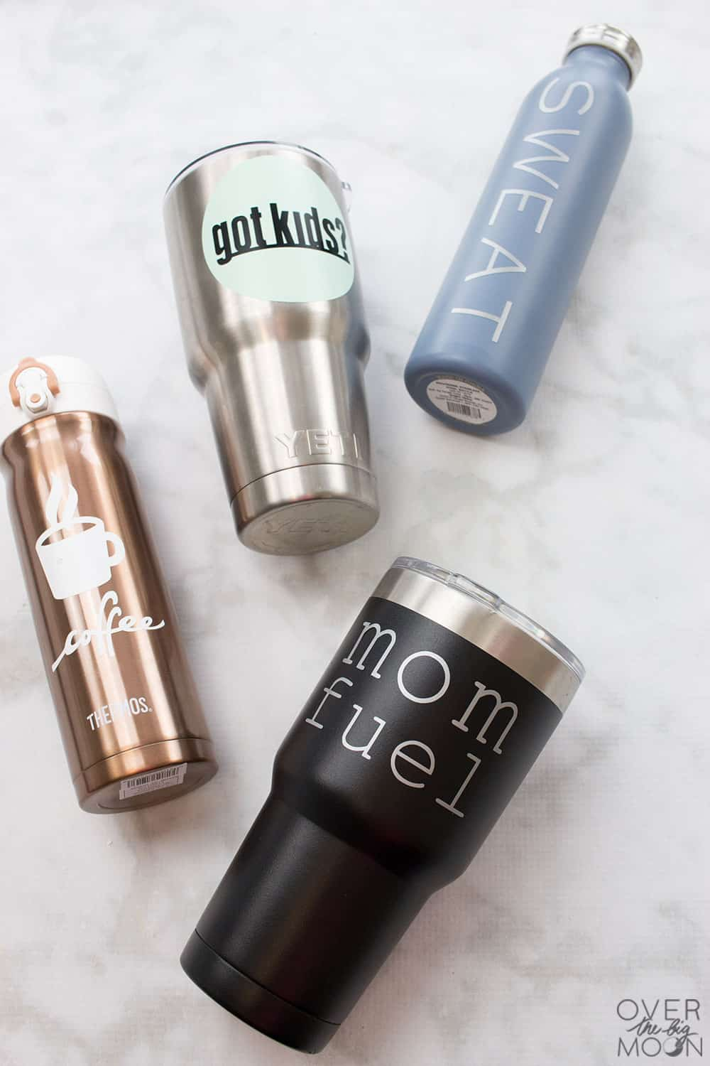 10 Easy DIY Mom Tumbler Vinyl Designs -- such an easy and fun way to add some personality to your water bottle or coffee tumbler! From overthebigmoon.com! #vinyl #tumbler #cricutmade #cricut