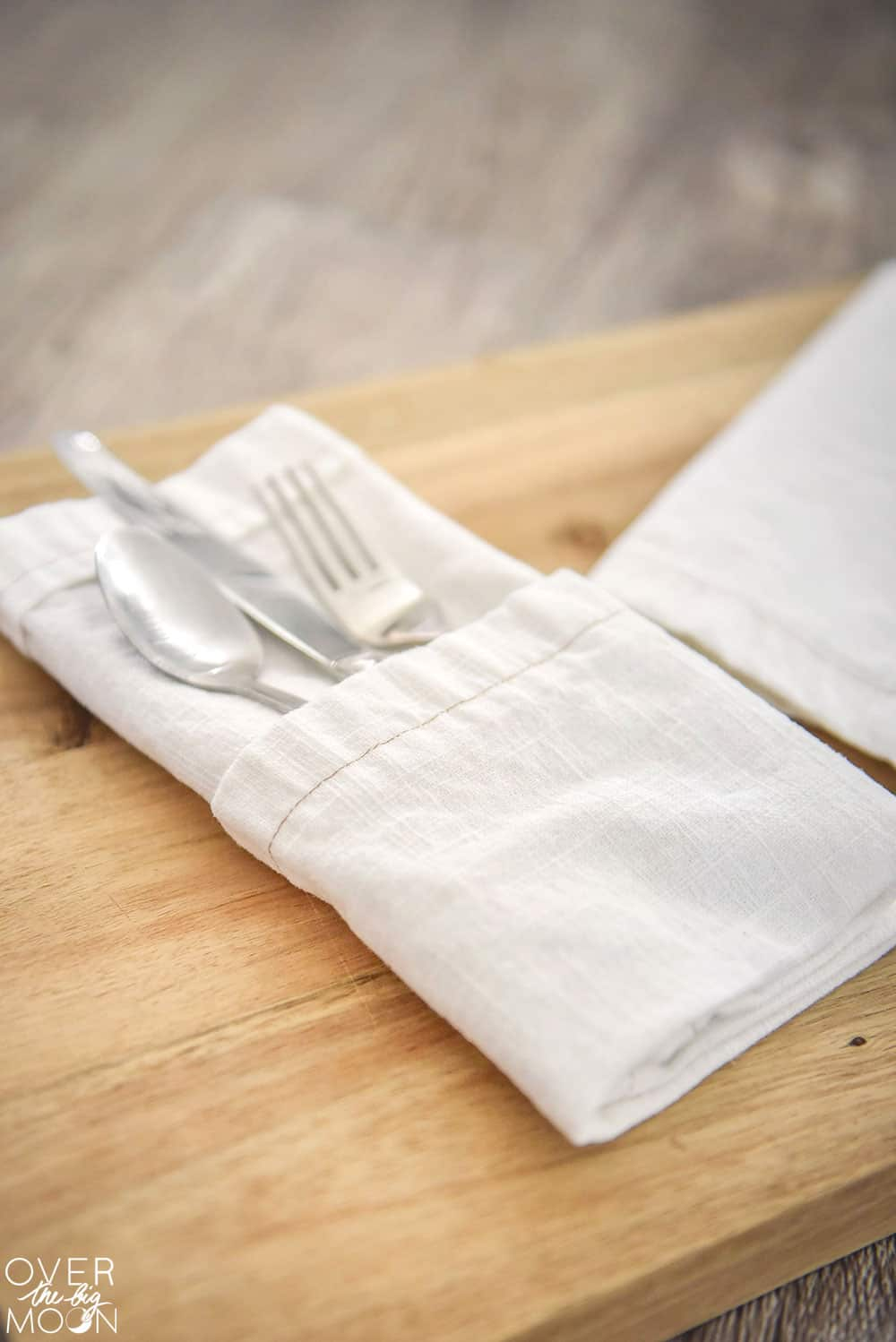 How to Sew Easy DIY Linen Dinner Napkins - Over the Big Moon