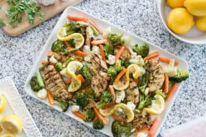 Sheet Pan Chicken and Vegetables - a meal the whole family will love! From overthebigmoon.com!