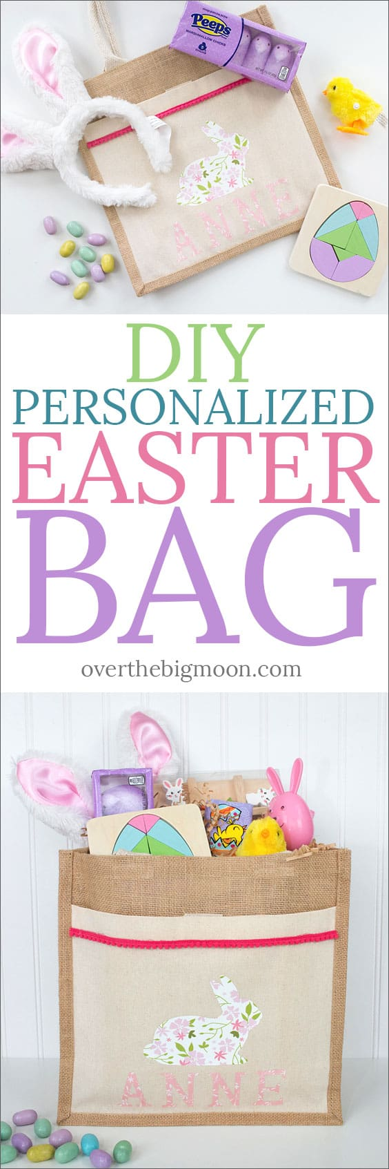 Easter is coming and this DIY Personalized Easter Bag with Iron On Vinyl is the perfect Easter project for you! The project takes less than 30 minutes and Cricut's Patterned Iron On is a great way to take your project to the next level and add some personality!