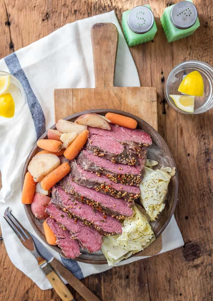 Traditional Slow Cooker Corned Beef and Cabbage + other St. Patrick's Day Green Food Ideas from overthebigmoon.com!