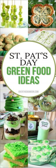 Making Green or themed foods on St. Patrick's Day is such an easy and fun way to celebrate! Come check out the fun St. Patrick's Day Green Food Options! From overthebigmoon.com!