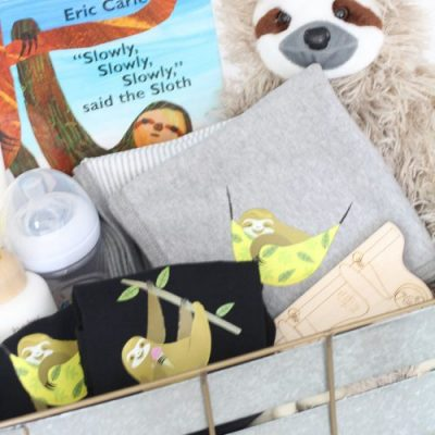 DIY Sloth Baby Gift Basket - such an adorable theme and so easy to customize! From overthebigmoon.com!