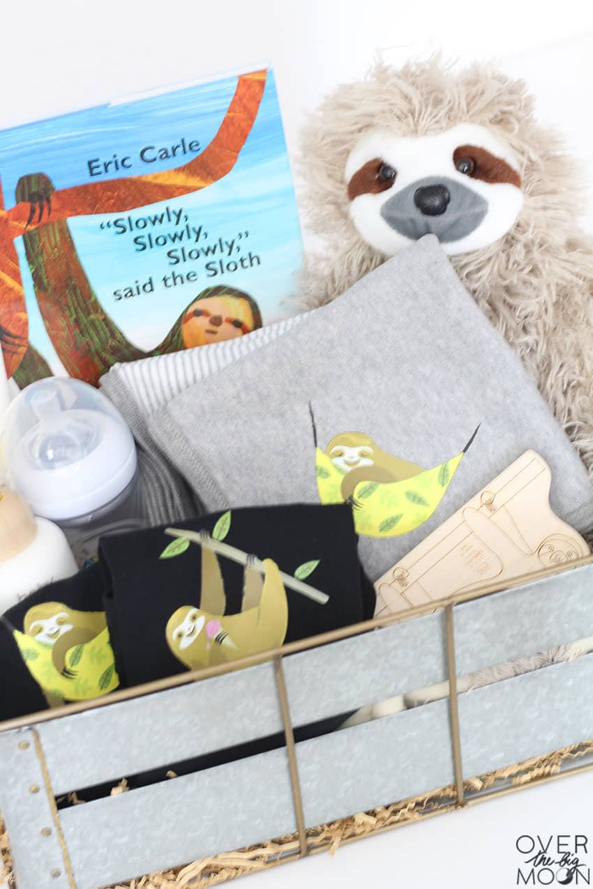 Sloth Themed Baby Gift Idea - perfect for a boy or girl and super easy to customize! From overthebigmoon.com!