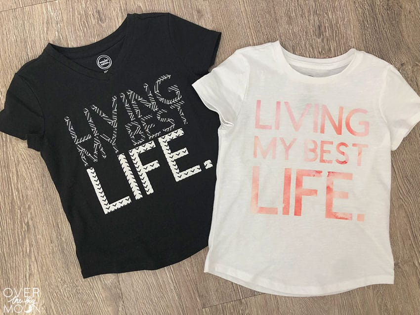 Living My Best Life T-Shirt Design using my Cricut Patterned Iron On! From overthebigmoon.com!