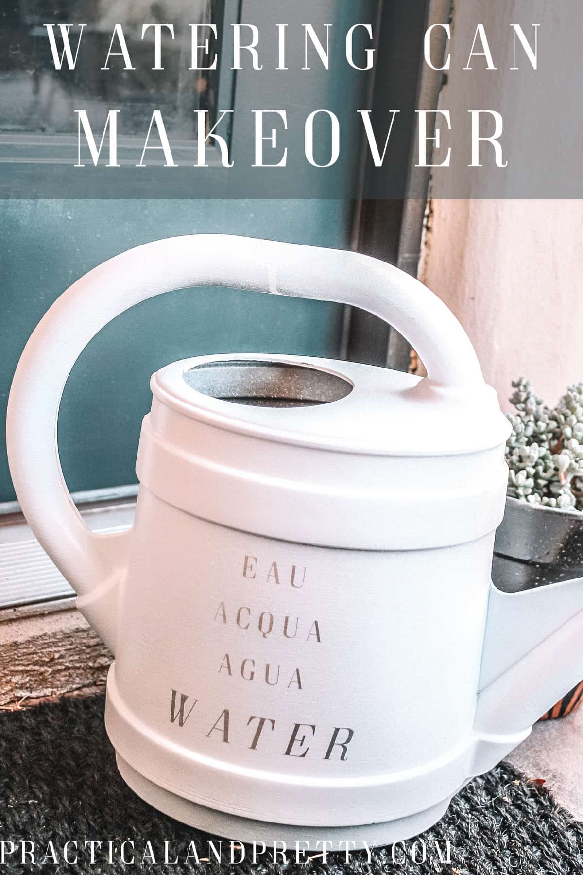 Watering cans are notoriously ugly so I decided to give this one a little makeover using some spray paint and my Cricut!