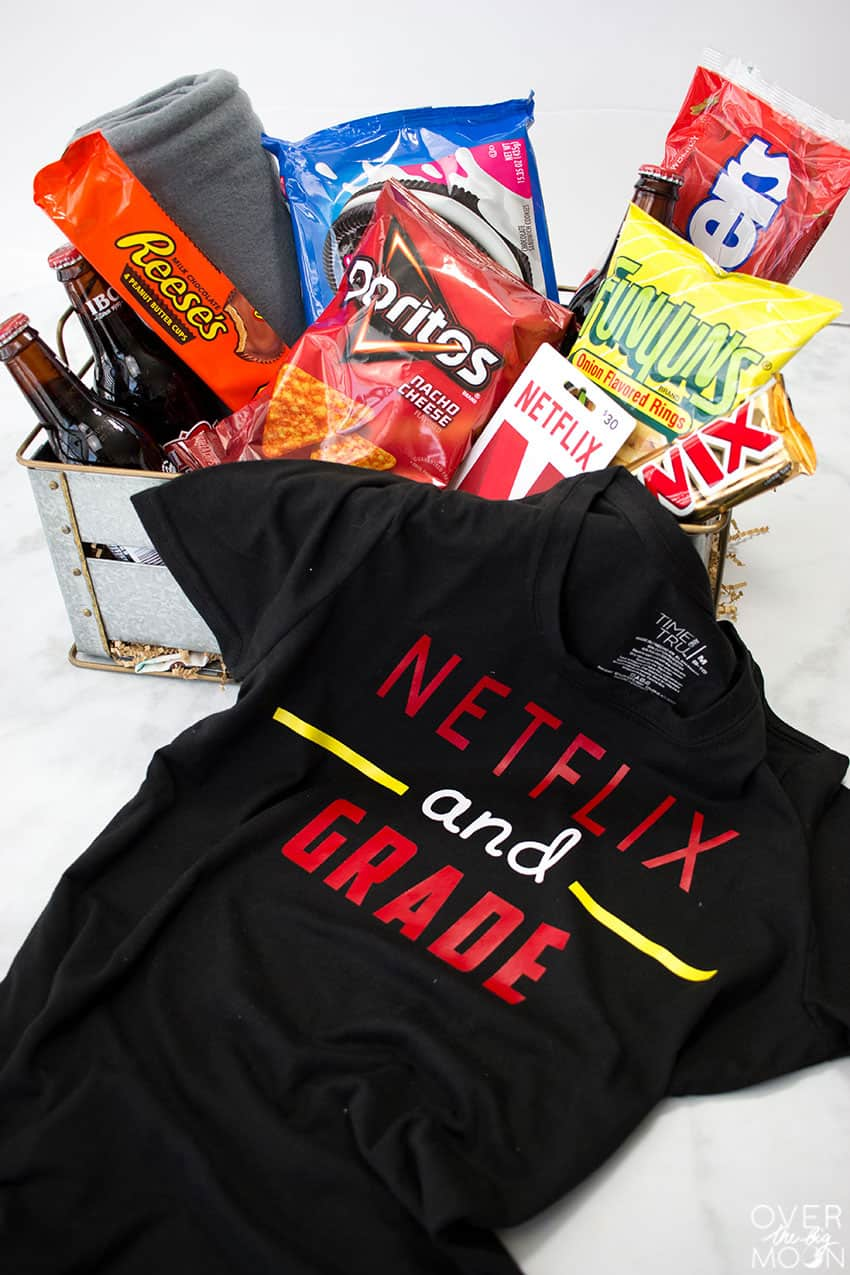 Netflix and Grade T-Shirt and Teacher Gift Basket - the perfect teacher gift from overthebigmoon.com!