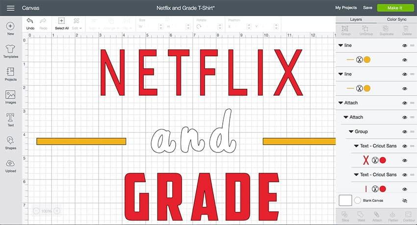 Netflix and Grade Cricut Design Space File