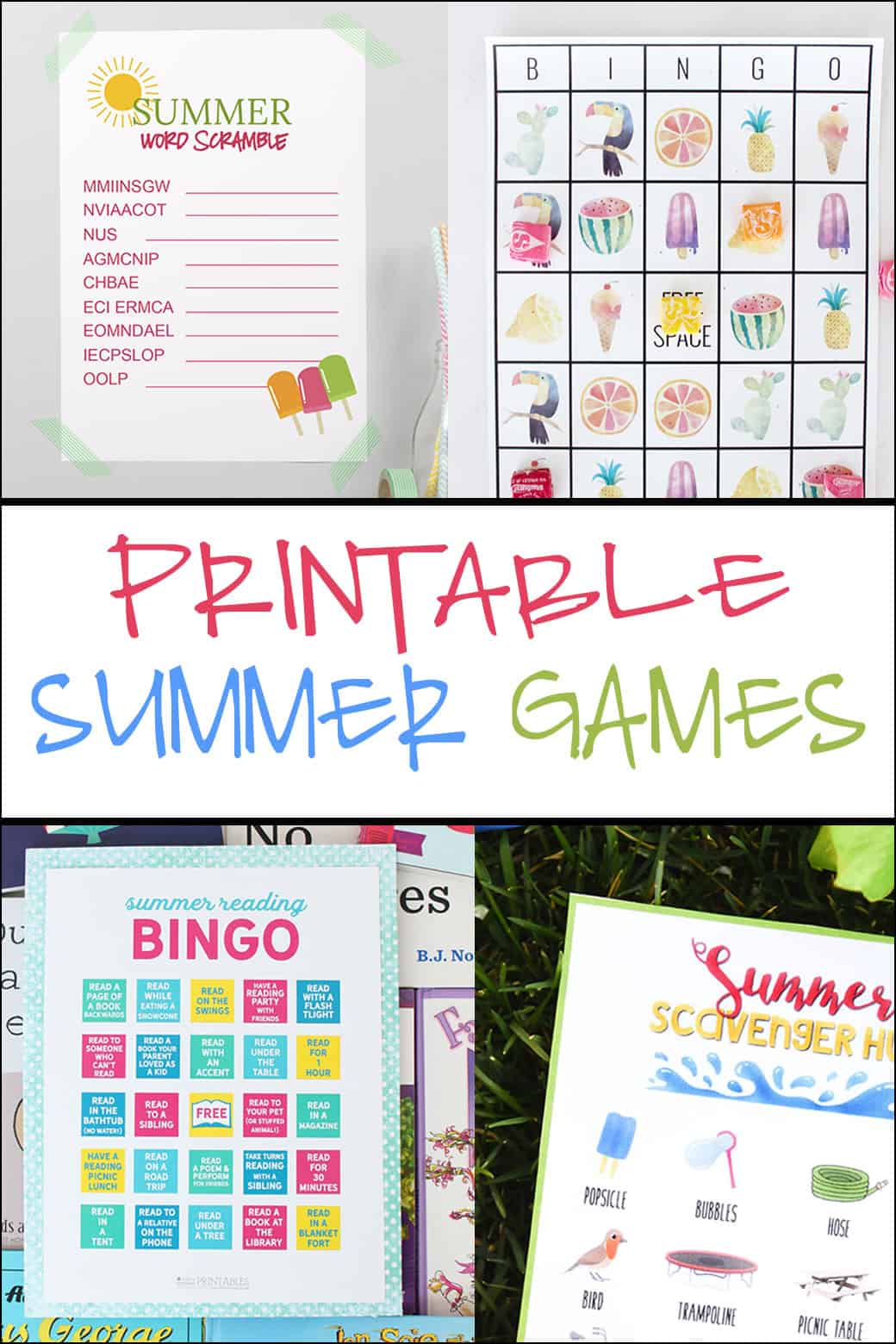 FREE Printable Summer Games - the perfect way to keep kiddos entertained on a HOT summer day!!