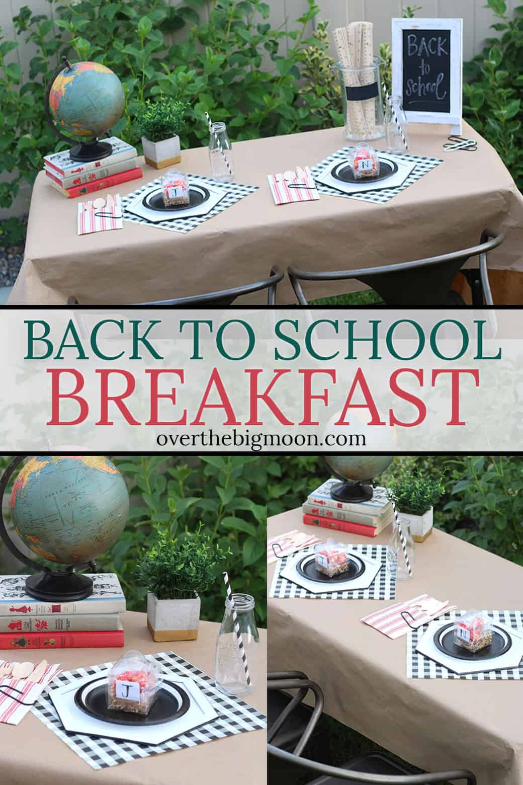 Back to School Breakfast for the First Day of School! Fun decoration ideas, plus some fun DIY's you can make on your Cricut Maker! From overthebigmoon.com!