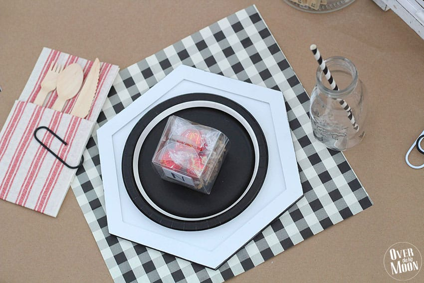 Fun Gingham and Black and White Table Setup! From overthebigmoon.com!