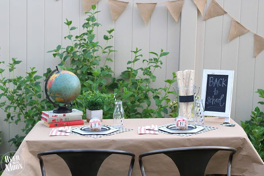 First Day of School Breakfast table and decorations! From overthebigmoon.com!