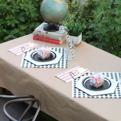 DIY Plate Charger used at a First Day of School breakfast! From overthebigmoon.com!