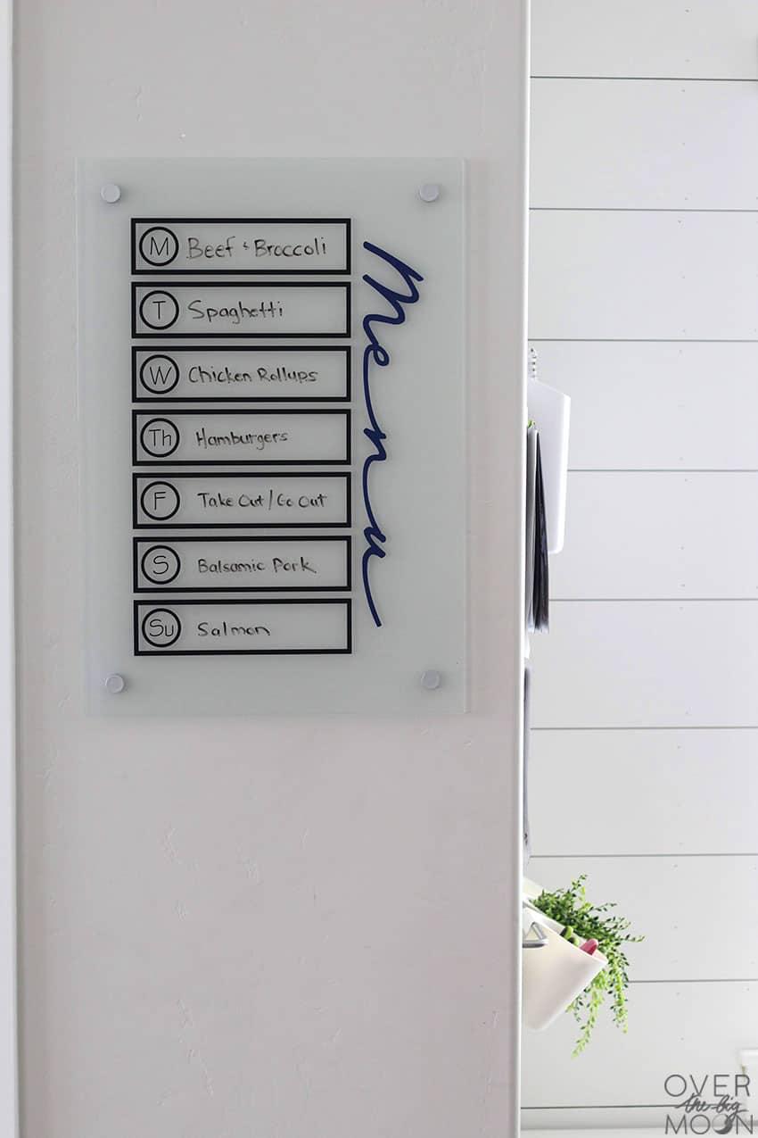 DIY Vinyl Menu Board made using my Cricut Maker, vinyl and a noticeboard from Ikea. From overthebigmoon.com!