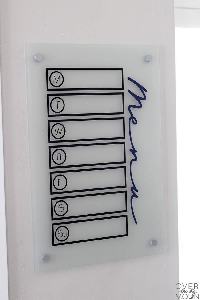 Installed Menu Board using Cricut Maker, Premium Vinyl and KLUDD Noticeboard! From overthebigmoon.com!