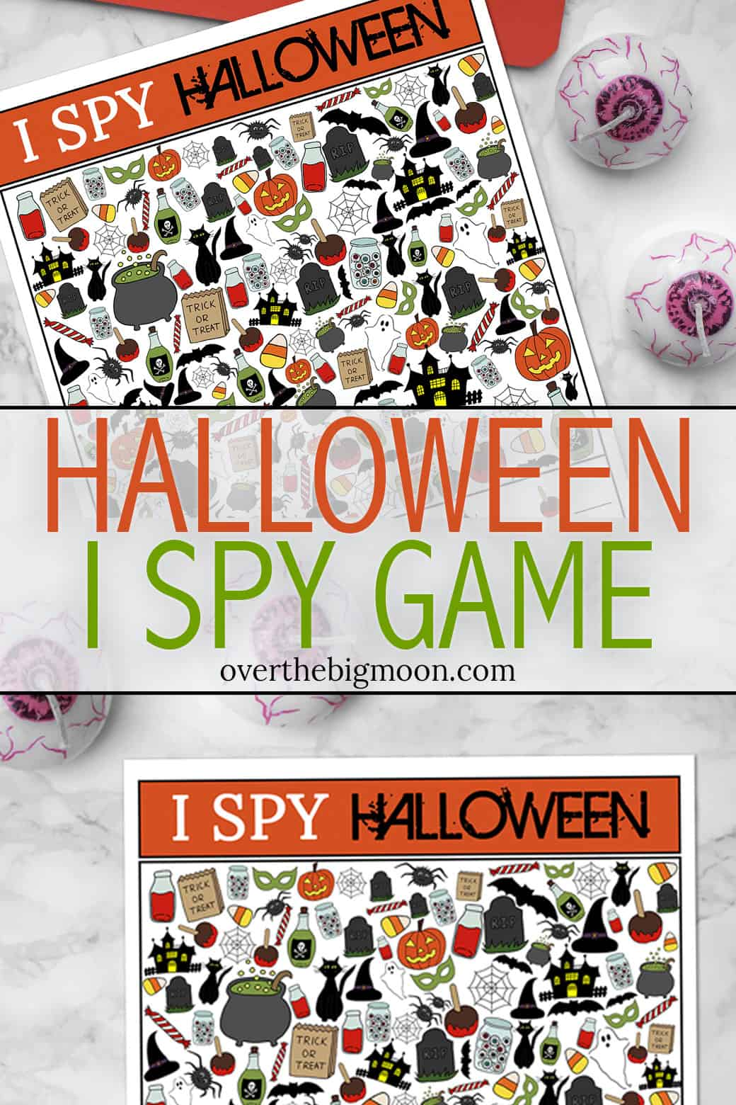 Halloween I Spy Game Printable for kids! From overthebigmoon.com!