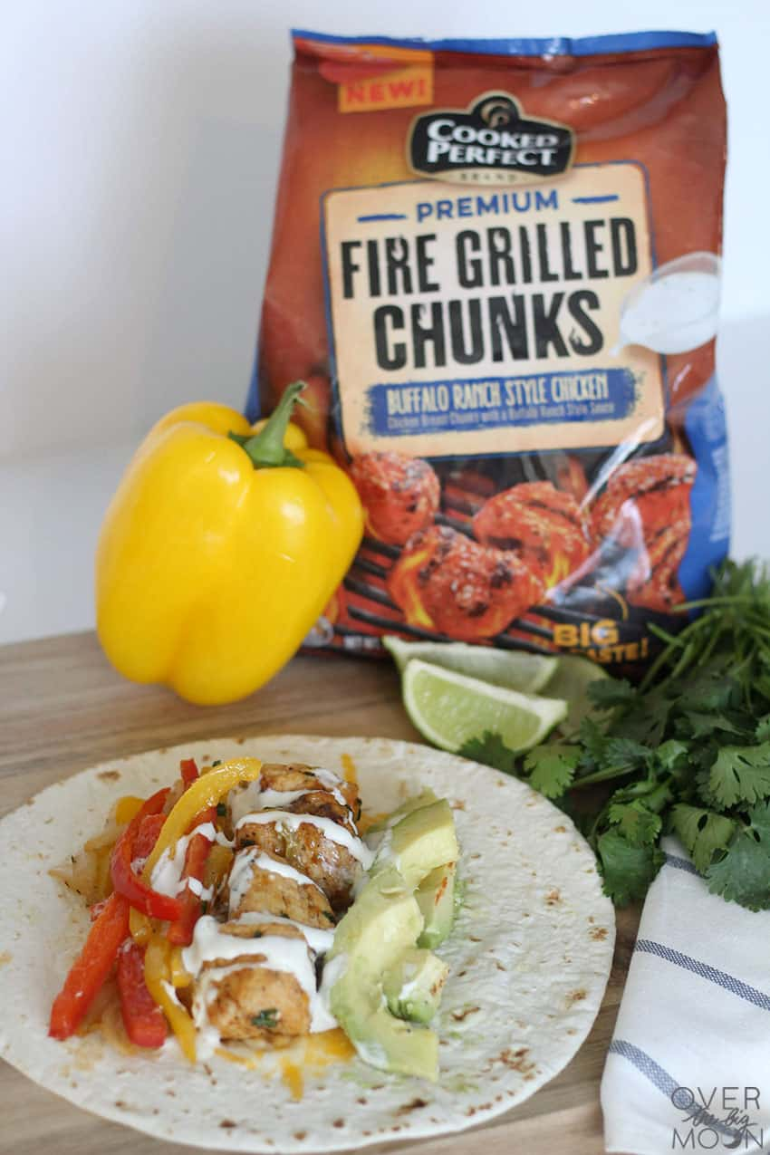 Cooked Perfect Chicken is the easiest way to make tacos or fajitas! The flavors are beyond good! From overthebigmoon.com!