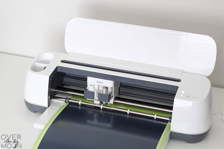 Cricut Maker cutting Black Iron On from overthebigmoon.com!
