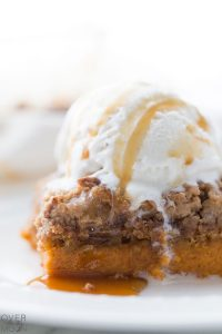 Easy Pumpkin Dump Cake - the perfect Fall Dessert! From overthebigmoon.com!
