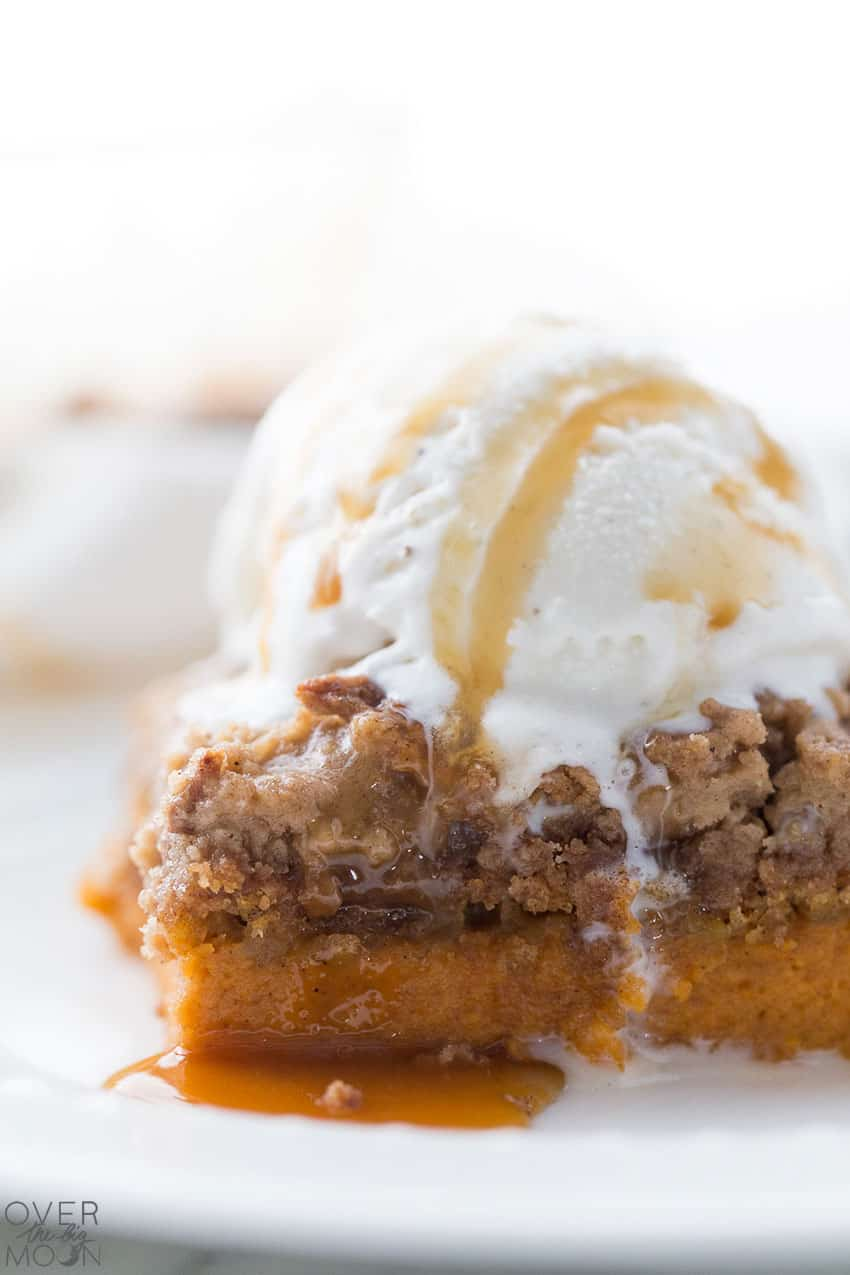 Easy Pumpkin Dump Cake - the perfect Fall Dessert! From overthebigmoon.com!