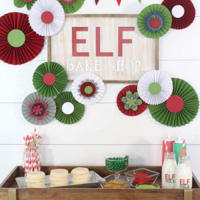 Elf Cookie Station Setup - the backdrop is made with my Cricut Maker! From overthebigmoon.com!
