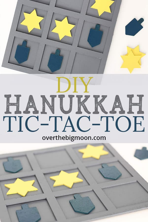 DIY Hanukkah Tic Tac Toe Game for Kids! A fun game to play this Hanukkah Celebration! From overthebigmoon.com!