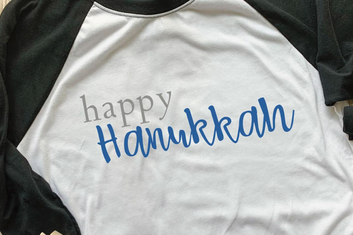 Happy Hanukkah T-Shirt Design - perfect way to show your Hanukkah spirit! From overthebigmoon.com!