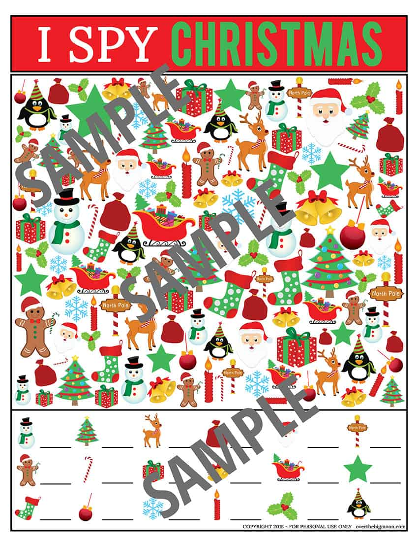 Printable Christmas I Spy Game for Kids | overthebigmoon.com!