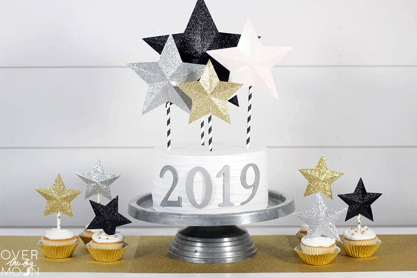 New Years Cake Topper made from Glitter Cardstock with my Cricut! From overthebigmoon.com!