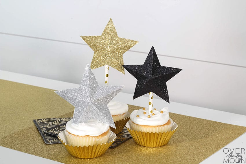 Star Cupcake Toppers made using Glitter Cardstock and Paper Straws! From overthebigmoon.com!