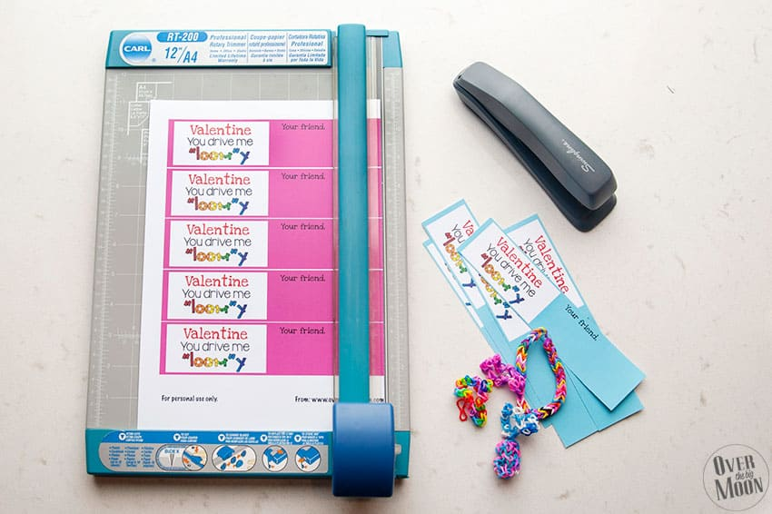Cut the printable Loom Valentine's out! From overthebigmoon.com!