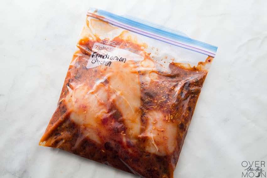 French Chicken Freezer Meal prepared in put in a ziplcok bag, ready to freeze! From overthebigmoon.com!