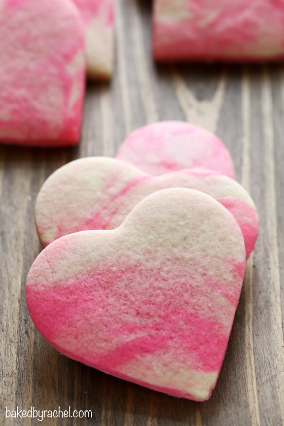 Valentine's Day Heart Marble Cookies + other fun Valentine's Day food ideas! From overthebigmoon.com!