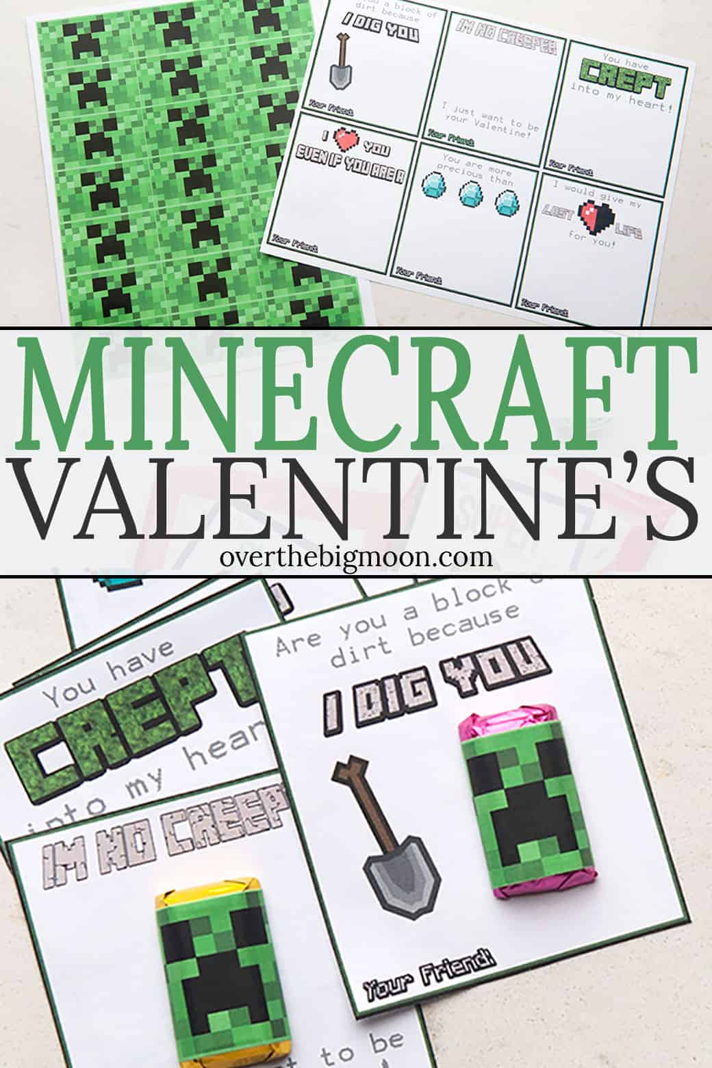 Minecraft Printable Valentine's for those Minecraft lovers! These pair perfectly with our PINK Minecraft Printable Valentine's! Just print, attach a small candy and you're good to go! From overthebigmoon.com!