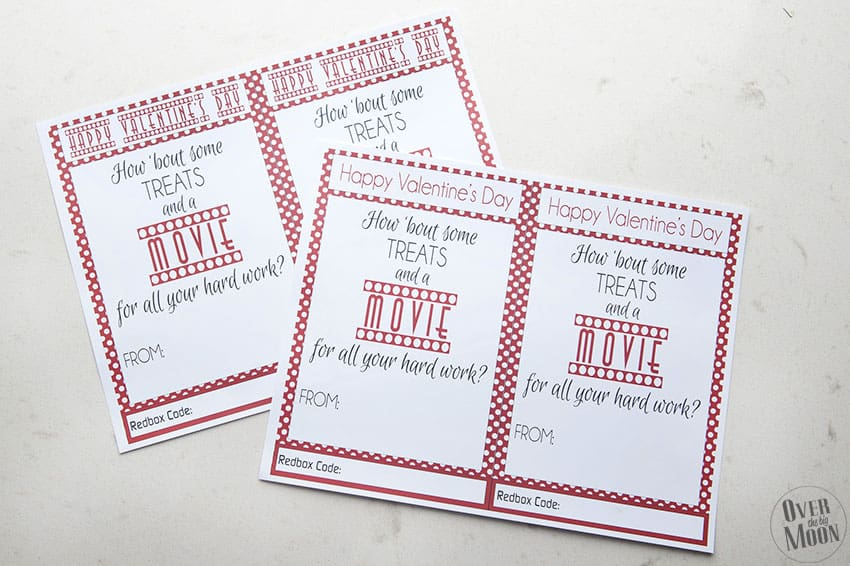 Red Printed Redbox Valentine for Teachers | overthebigmoon.com