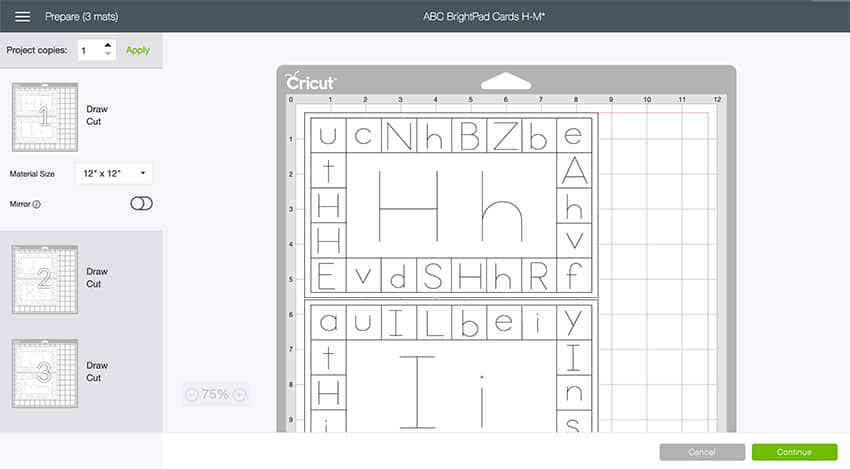 Alphabet Learning Cards Preview Screen in Design Space!