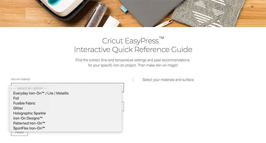 EasyPress Temperature Guide - choose Iron On type.