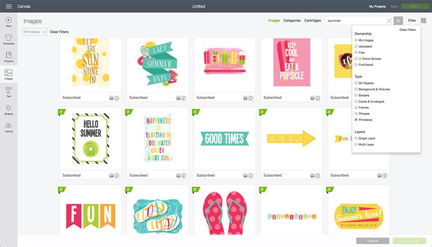 Printable Images in Design Space