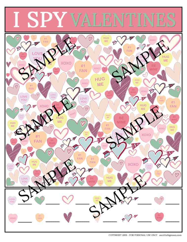 Sample of the I Spy Valentine's Day Printable Game from overthebigmoon.com!