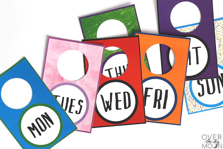 Days of the Week made using the Print then Cut Feature from the Cricut.
