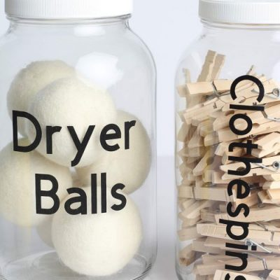 Dryer Balls and Clothespin containers for the laundry room.