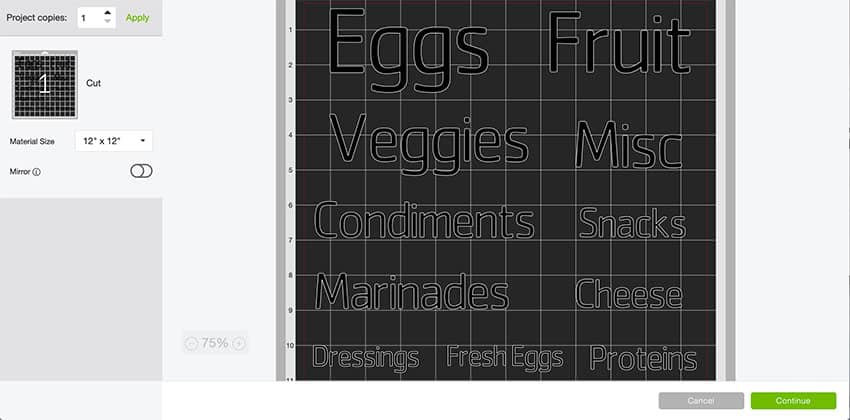 Mat Preview of Fridge Vinyl Labels