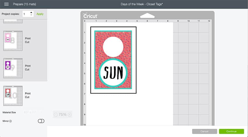 Design Space Mat Preview of Clothes Hang Tags.