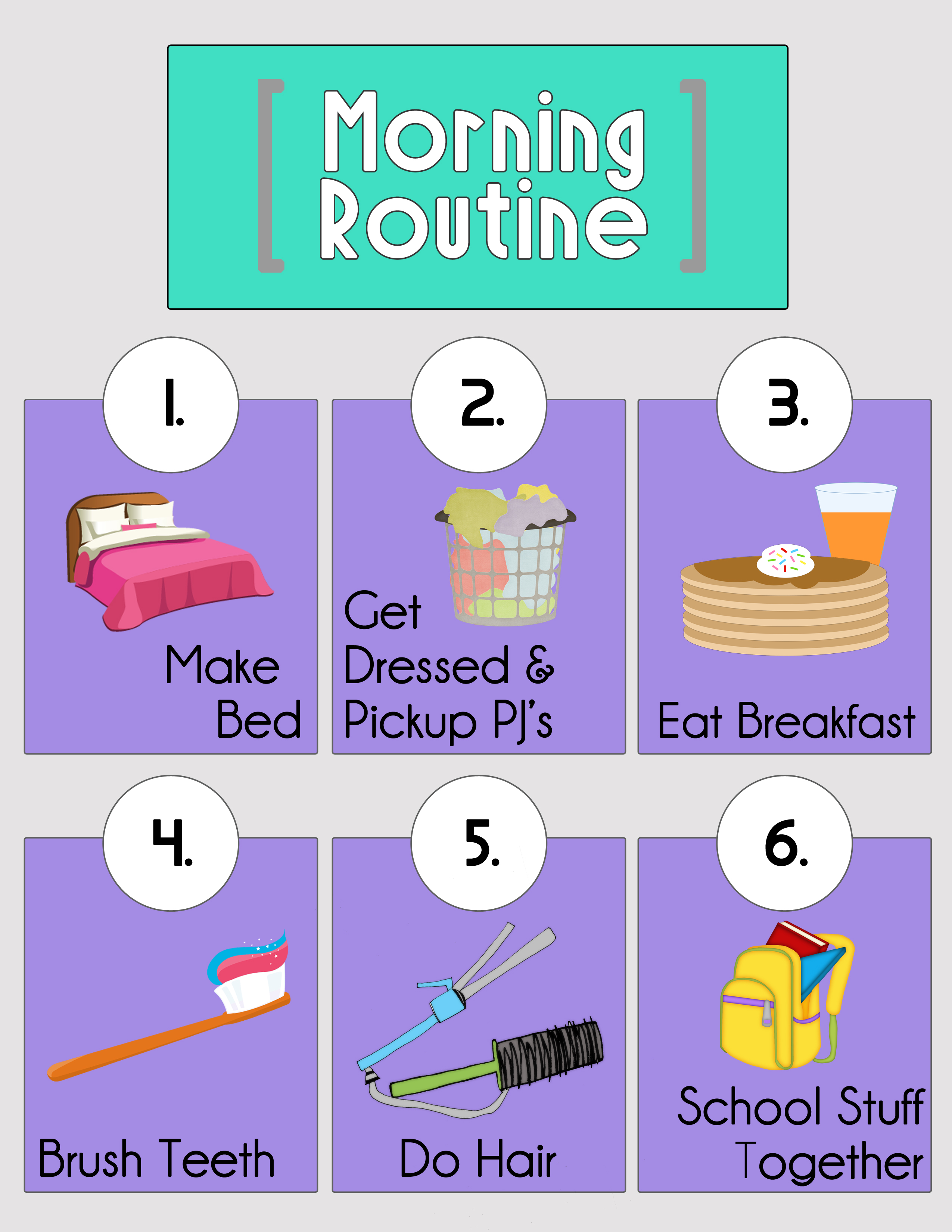 picture relating to Morning Routine Checklist Printable titled Early morning Program Printables