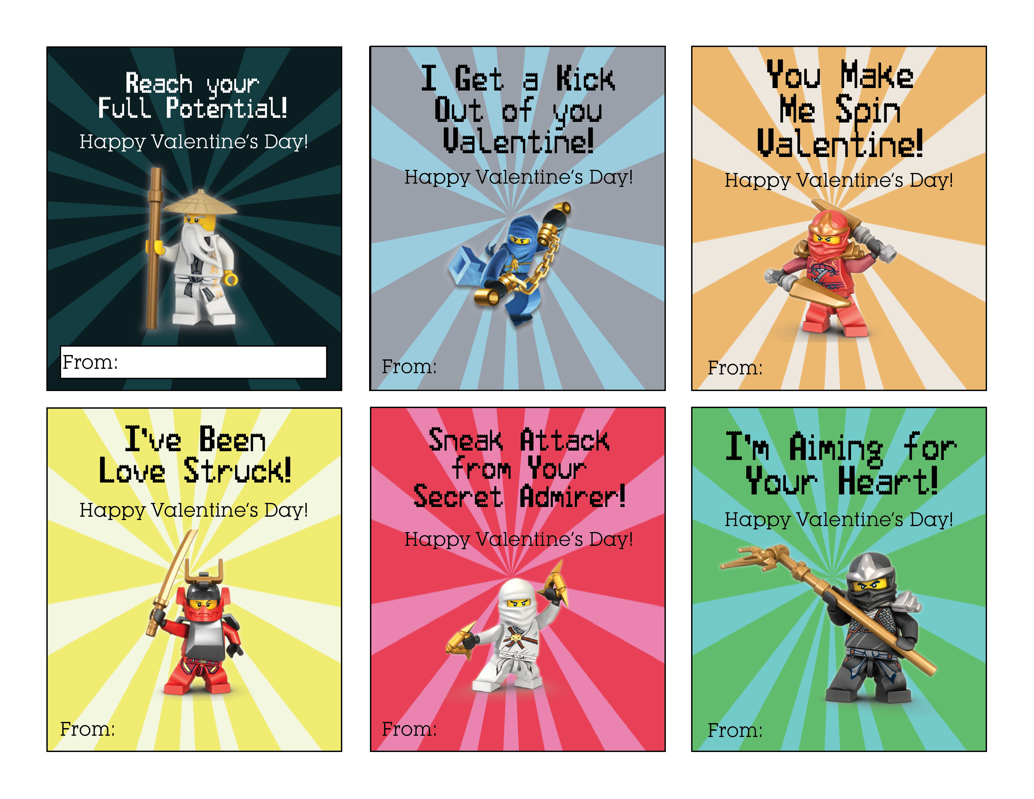 photograph regarding Lego Font Printable known as Ninjago Valentines Totally free Printable - About the Significant Moon