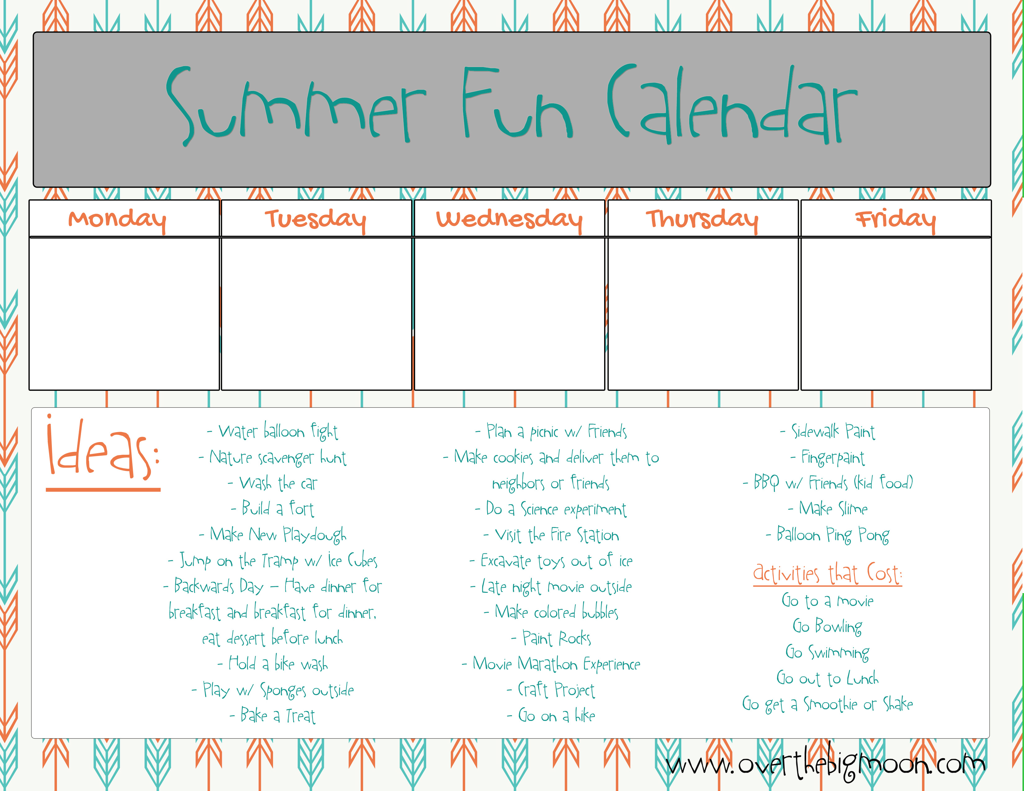 summer activity printable