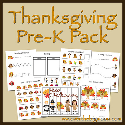 Thanksgiving Pre-K Pack | Over The Big Moon