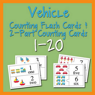 VehicleCountingbuttonsmall Fairy and Friends and Vehicle Counting Flash Cards & 2 Part Counting Cards