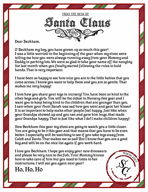 Beckham Letter from Santa Printable